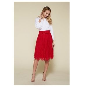 Red Lace Mid Skirt